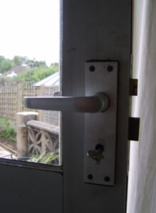Sashlock fitted to a wooden back door.